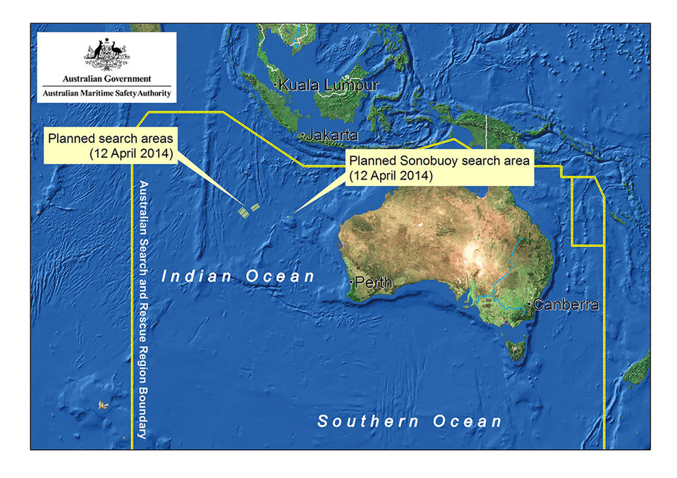Photo - In this map provided on Saturday, April 12, 2014, by the Joint Agency Coordination Centre, details are presented in the search for the missing Malaysia Airlines Flight 370 in the southern Indian Ocean. With no new underwater signals detected, the search for the missing Malaysian passenger jet resumed Saturday in a race against time to find its dying black boxes five weeks after families first learned their loved ones never arrived at their destination. (AP Photo/Joint Agency Coordination Centre) EDITORIAL USE ONLY