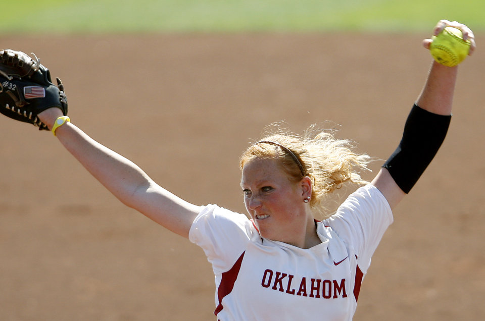 Oklahoma pitcher Michelle Gascoigne throws against Tulsa during the NCAA Softball Regional at the OU Softball Complex on the University of Oklahoma campus in Norman, Okla., on Sunday, May 22, 2011. The Sooners beat the Golden Hurricane in the second game 5-0. Photo by John Clanton, The Oklahoman Archives