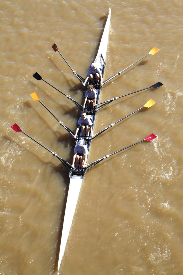 The OKC Riversport B team competes in the Oklahoma Regatta Festival on the Oklahoma River in Oklahoma City, OK, Saturday, October 5, 2013,  Photo by Paul Hellstern, The Oklahoman