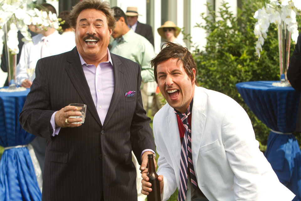 "FILE - This undated publicity film image released by Columbia Pictures - Sony shows Tony Orlando, left, and, Adam Sandler, in a scene from ""That's My Boy."" �The Twilight Saga: Breaking Dawn - Part 2� led the Razzies lineup Wednesday, Jan. 9, 2013, with 11 nominations. Other worst-picture nominees are the naval action tale �Battleship,� the family flick �The Oogieloves in the Big Balloon Adventure,� Adam Sandler's comedy dud �That's My Boy� and Eddie Murphy's fantasy flop �A Thousand Words.� (AP Photo/Columbia Pictures - Sony, Tracy Bennett, File)"