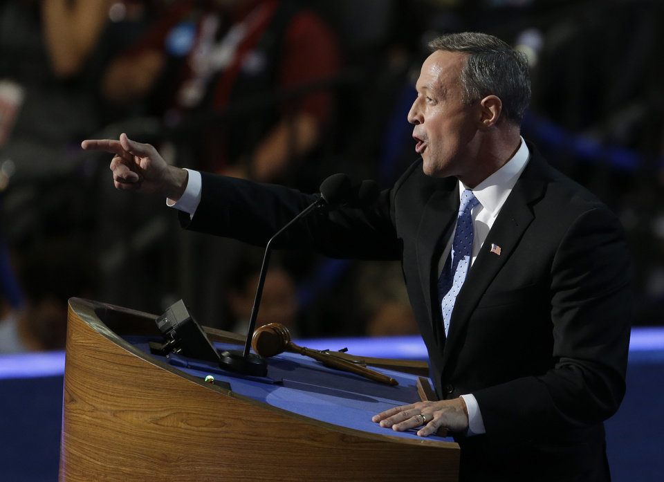 Photo - Maryland Gov. Martin O'Malley speaks to delegates at the Democratic National Convention in Charlotte, N.C., on Tuesday, Sept. 4, 2012. (AP Photo/Lynne Sladky)