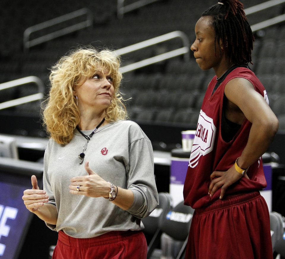 OU coach Sherri Coale talks with Nyeshia Stevenson during practice in Kansas City, Mo., on Saturday, March 27, 2010. The University of Oklahoma will play Notre Dame in the Sweet 16 round of the NCAA women's  basketball tournament on Sunday.