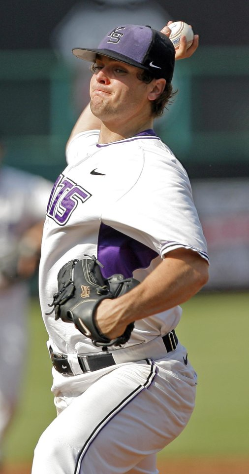 KSU's Ryan Daniel pitches during the Big 12 baseball championship tournament game between Kansas State and Oklahoma at the Bricktown Ballpark in Oklahoma City, Saturday, May 29, 2010. OU won, 13-2, in eight innings. Photo by Nate Billings, The Oklahoman