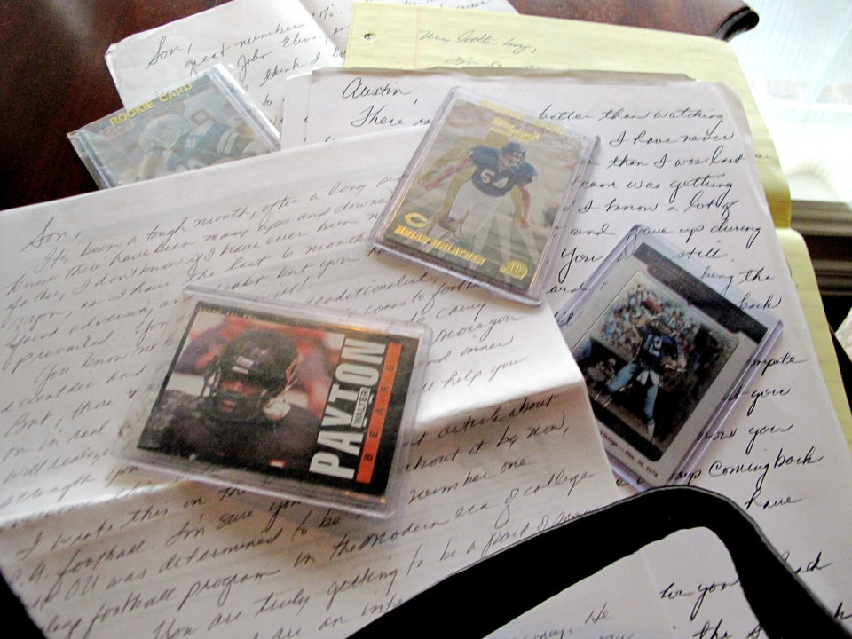Photo - Letters that Austin Box's Dad wrote to him before every football game. Photo by Travis Haney, The Oklahoman ORG XMIT: KOD