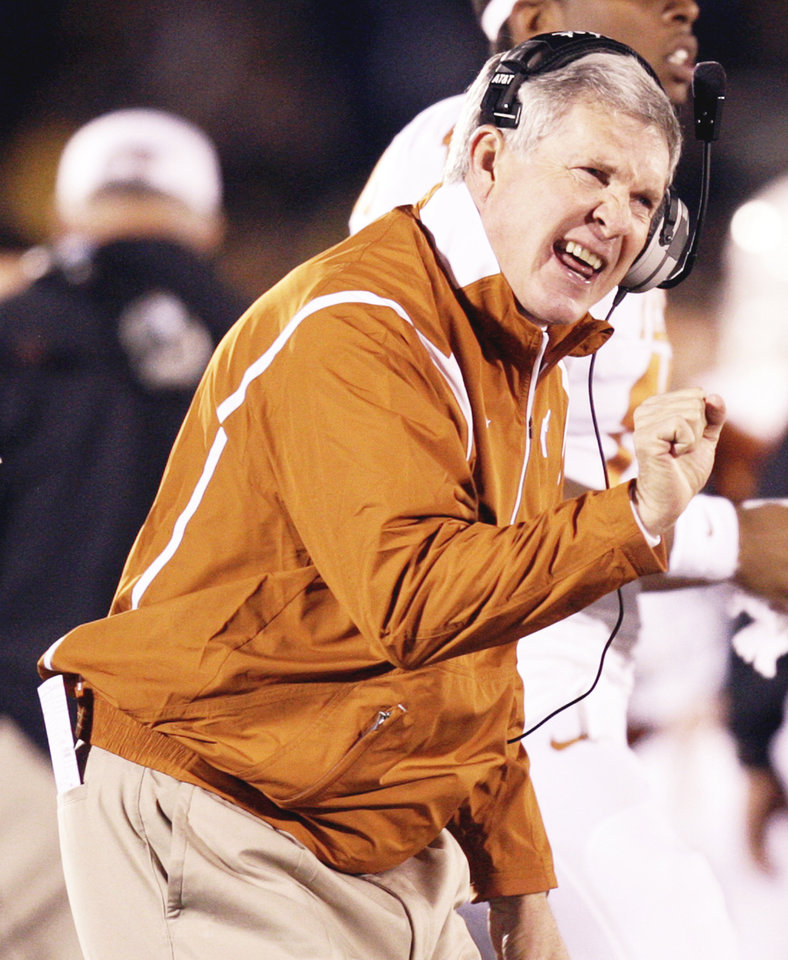 Mack Brown's success has contributed to Texas' rise to the top of the Big 12 mountain. AP PHOTO
