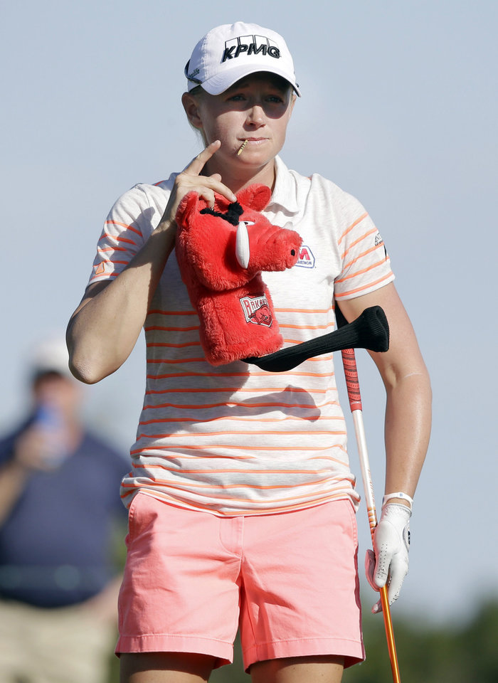 Photo - Stacy Lewis prepares for her tee shot on the ninth hole during the second round of the North Texas LPGA Shootout golf tournament at Las Colinas Country Club in Irving, Texas, Friday, May 2, 2014. (AP Photo/LM Otero)