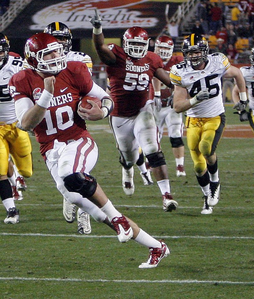 Oklahom's Blake Bell (10) scores a touchdown as Donald Stephenson (59) celebrates during the Insight Bowl college football game between the University of Oklahoma (OU) Sooners and the Iowa Hawkeyes at Sun Devil Stadium in Tempe, Ariz., Friday, Dec. 30, 2011. Photo by Sarah Phipps, The Oklahoman