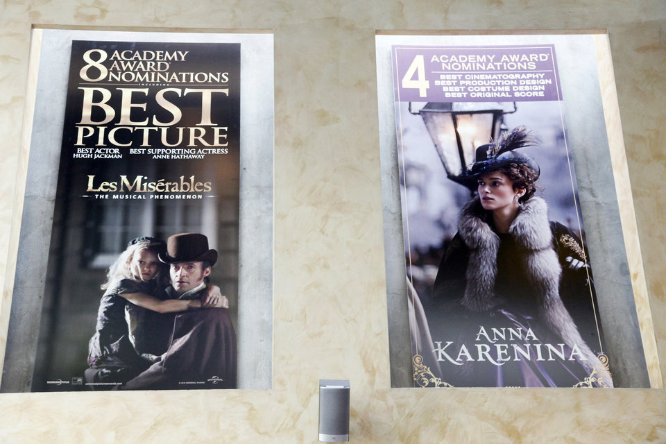 This Thursday, Feb. 21, 2013 photo shows Oscar posters hanging on the wall at Kate Mantilini restaurant in Beverly Hills, Calif. The 85th Academy Awards are held on Sunday, Feb. 24, 2013, in Los Angeles. (AP Photo/Nick Ut)