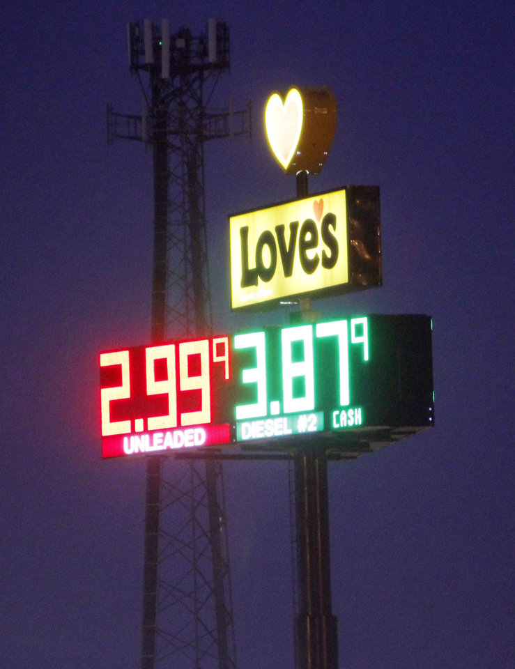 Love's truck stop at I-35 and NE 122nd Street in the rain Monday, November 21, 2011. Photo by Doug Hoke, The Oklahoman