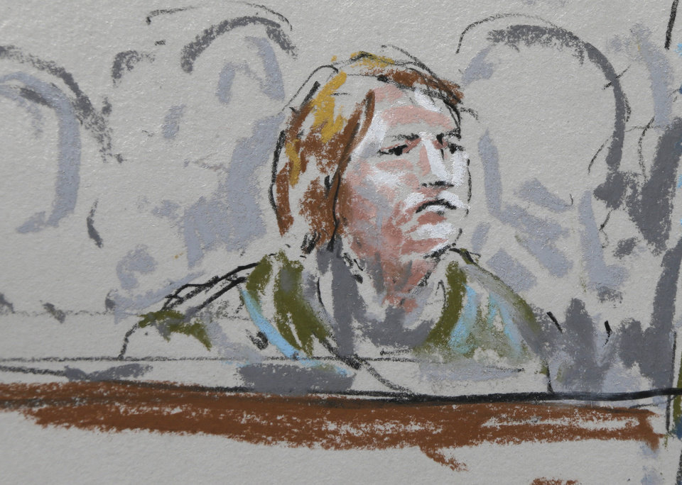 Photo - In this courtroom sketch, Kari Bales, the wife of U.S. Army Staff Sgt. Robert Bales, sits in a military courtroom, Wednesday, June 5, 2013, during a plea hearing for her husband at Joint Base Lewis McChord in Washington state. Robert Bales pleaded guilty to multiple counts of murder, stemming from a pre-dawn attack on two villages in Kandahar Province in Afghanistan in March, 2012. (AP Photo/Peter Millett)