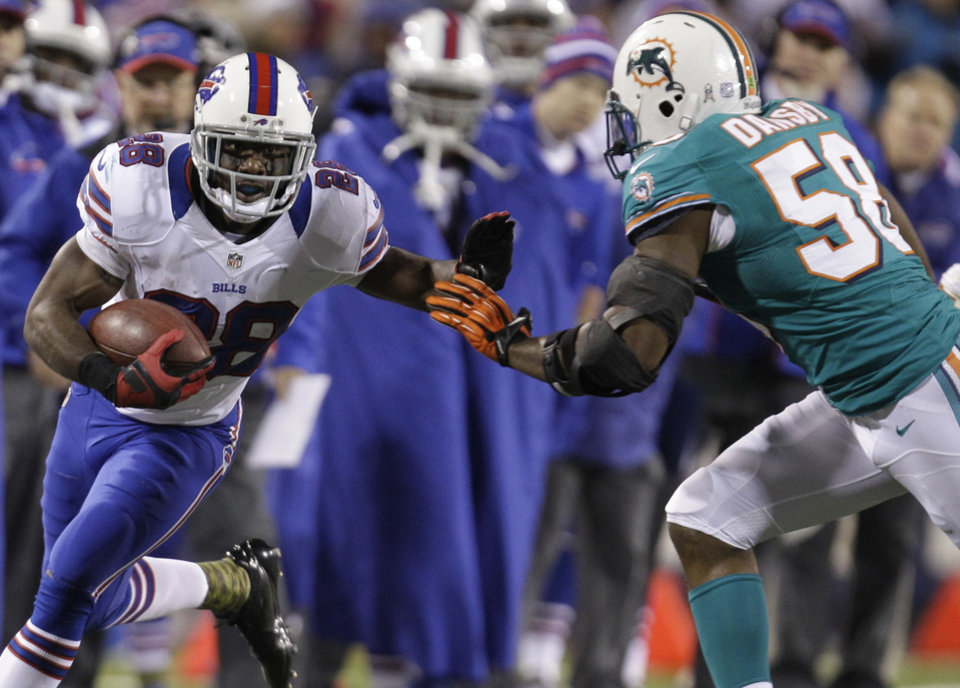 Photo -   Buffalo Bills running back C.J. Spiller (28) goes against Miami Dolphins' Karlos Dansby (58) during the first half of an NFL football game on Thursday, Nov. 15, 2012, in Orchard Park, N.Y. (AP Photo/Gary Wiepert)