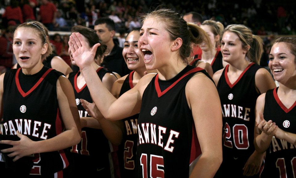 Photo - Pawnee's Britney Morgan (15) celebrates the Lady Bears' win over Dale in the girls 2A semifinal between Dale and Pawnee, Friday, March 13, 2009, in Oklahoma City. PHOTO BY SARAH PHIPPS, THE OKLAHOMAN