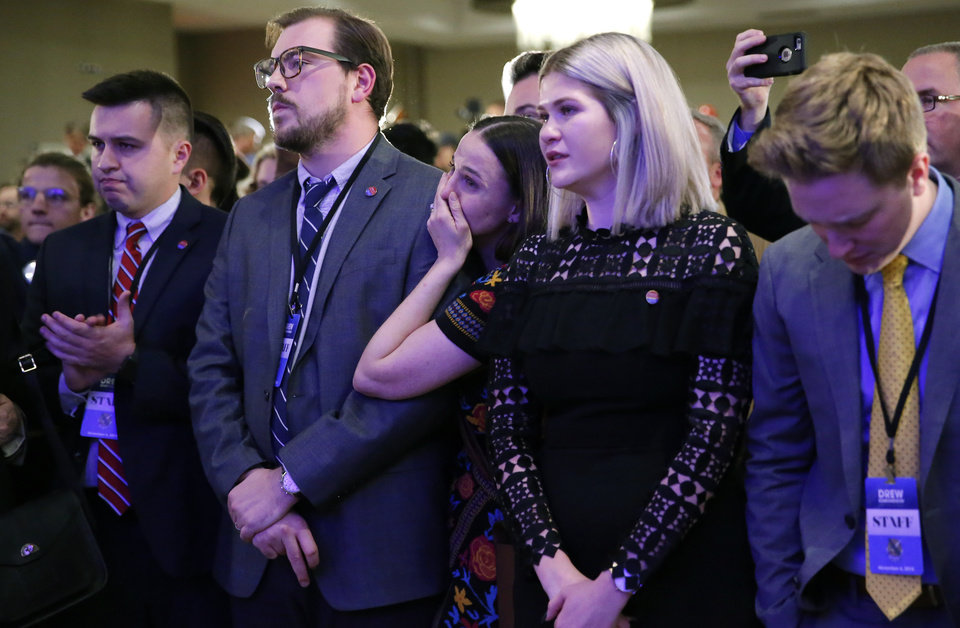 Photo - Supporters react as Drew Edmondson gives a concession speech after losing the governor's race to Republican Kevin Stitt during a watch party for Drew Edmondson and the democratic party at the Embassy Suites  in Oklahoma City, Tuesday, Nov. 6, 2018. Photo by Sarah Phipps, The Oklahoman