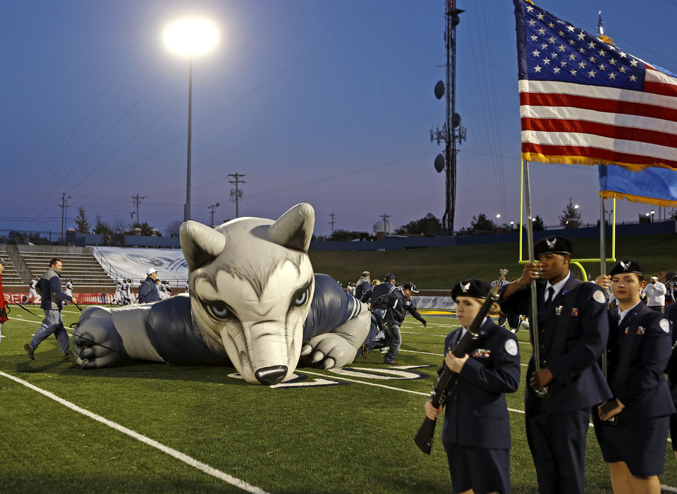 The Edmond North Husky is dragged across the field in preparation for a high school football game between Edmond North and Midwest City at Wantland Stadium in Edmond, Thursday, October 25, 2012. Photo by Bryan Terry, The Oklahoman