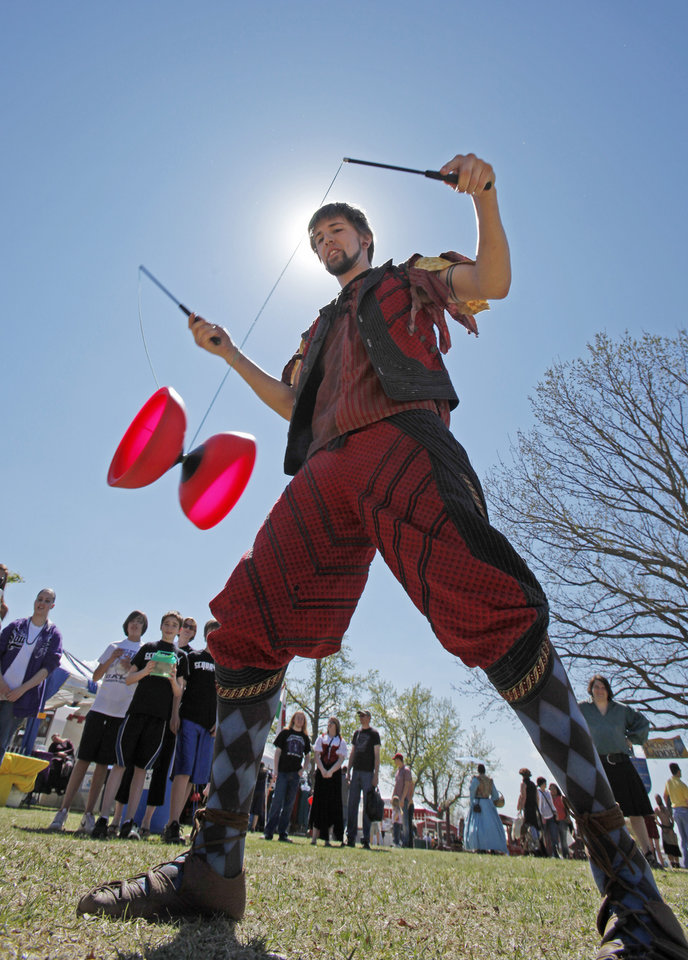 Jason Divad, Kansas City, Kansas juggler, performs with a Chinese Yoyo during the 35th annual Medieval Fair at Reaves Park on Friday, April 1, 2011, in Norman, Okla.  Photo by Steve Sisney, The Oklahoman
