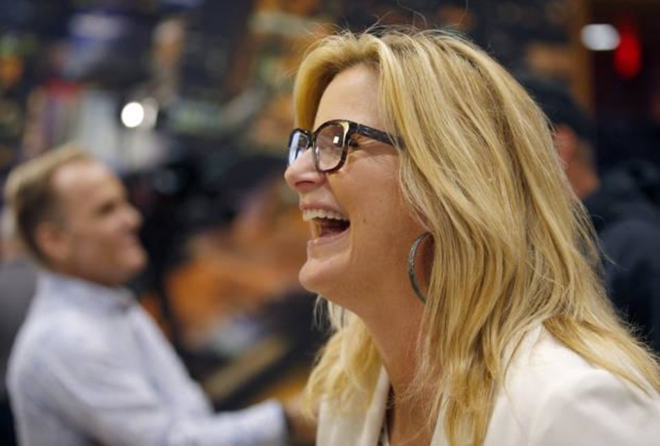 Photo - Trisha Yearwood talks to reporters during a news conference Friday at Chesapeake Energy Arena in Oklahoma City. Photo by Sarah Phipps, The Oklahoman