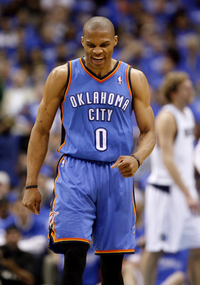 Oklahoma City's Russell Westbrook (0) celebrates during Game 3 of the first round in the NBA playoffs between the Oklahoma City Thunder and the Dallas Mavericks at American Airlines Center in Dallas, Thursday, May 3, 2012. Oklahoma City won 95-79. Photo by Bryan Terry, The Oklahoman