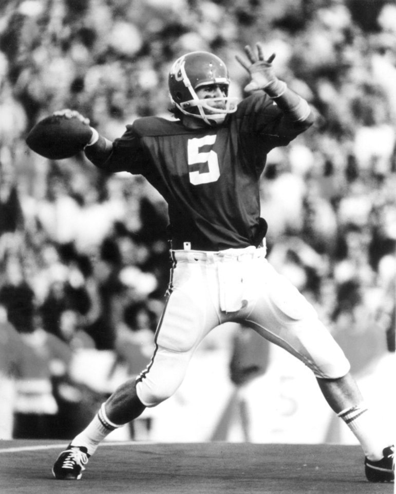 Steve Davis, OU football player, 1973-75.  Photo is undated and probably provided by the OU Sports Information office.