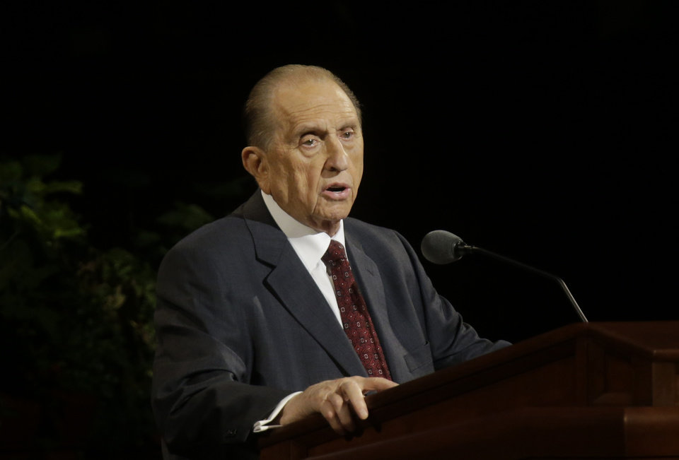 Photo - President Thomas S. Monson speaks during the opening session of the two-day Mormon church conference Saturday, Oct. 5, 2013, in Salt Lake City. The president of the Mormon church says worldwide membership has hit 15 million, representing a three-fold increase over the three decades. Monson announced the milestone during the opening session of the two-day Mormon church conference Saturday morning. The biannual general conference of The Church of Jesus Christ and Latter-day Saints brings 100,000 members to Salt Lake City. More than half of church members live outside of the United States. (AP Photo/Rick Bowmer)