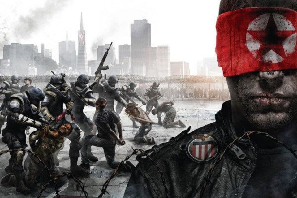 "Artwork from the THQ game ""Homefront"" featuing captured U.S. citizens. Photo provided <strong></strong>"