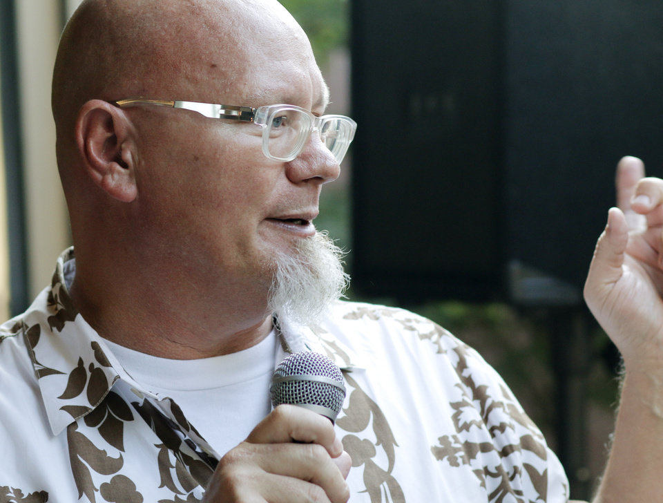 Photo -  Bruce Upthegrove, with Republic, talks wines during Open Flame in August. Photo by Doug Hoke, The Oklahoman   DOUG HOKE -  THE OKLAHOMAN