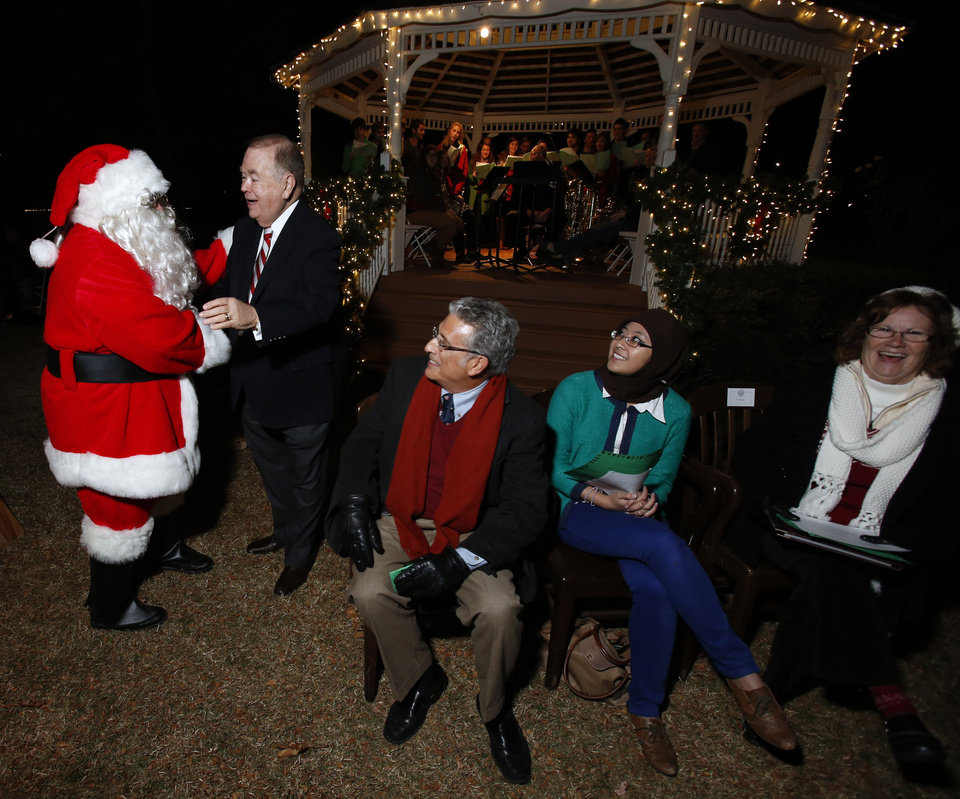 President David L. Boren greets Santa Clause at the University of Oklahoma's (OU) Holiday Lighting Celebration on Wednesday, Nov. 28, 2012, in Norman, Okla.  