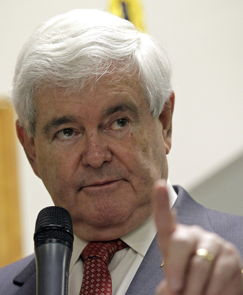 Republican presidential candidate, former House Speaker Newt Gingrich speaks in Cramerton, N.C., Wednesday, April 25, 2012. (AP Photo/Chuck Burton)