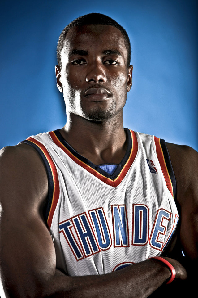 Photo - NBA BASKETBALL: SERGE IBAKA during the Oklahoma City Thunder media day on Monday, Sept. 28, 2009, in Oklahoma City, Okla.  Photo by Chris Landsberger, The Oklahoman. ORG XMIT: KOD