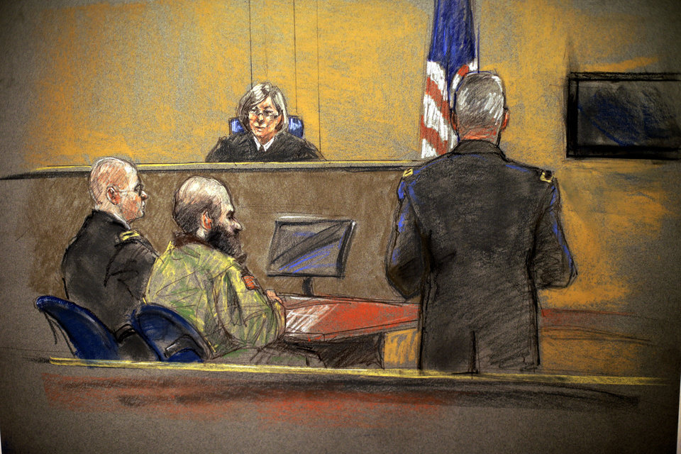 Photo - In this courtroom sketch, Maj. Nidal Hasan, center, sits before the judge, U.S. Army Col. Tara Osborn, during the sentencing phase of his trial, Monday, Aug. 26, 2013, in Fort Hood, Texas. The jury found Hasan unanimously guilty on the 13 charges of premeditated murder in the 2009 Fort Hood shootings and he is eligible for the death penalty. (AP Photo/Brigitte Woosley)