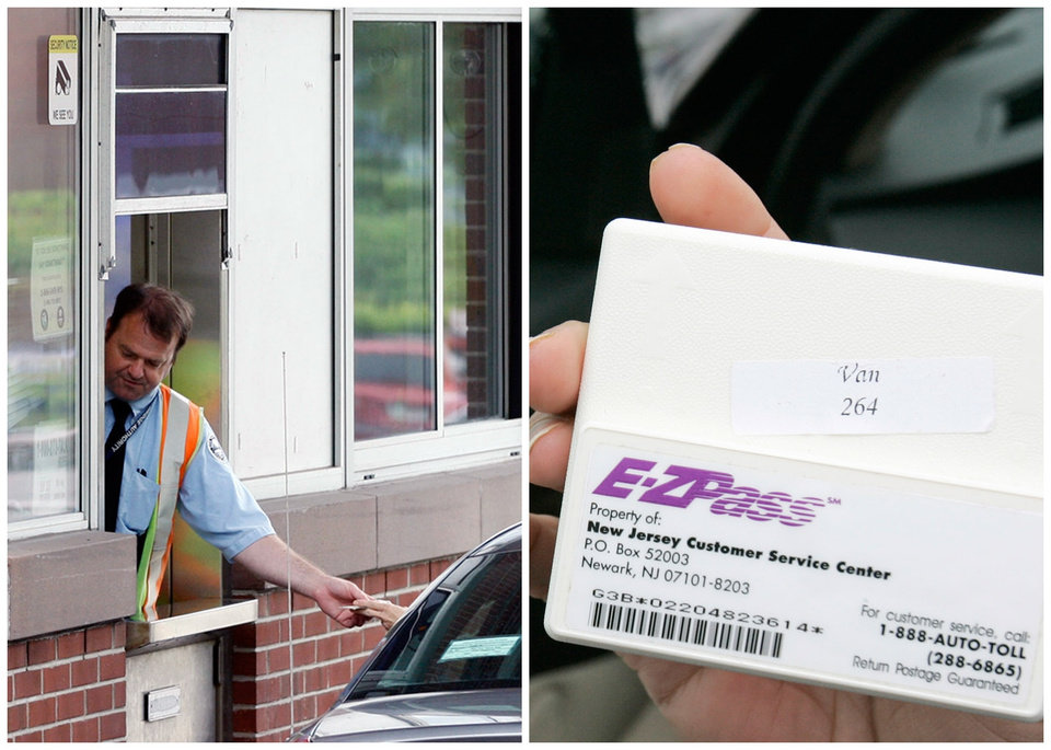 This combination of Associated Press file photos shows, left, toll collector Anthony Morris working a booth at the Rip Van Winkle Bridge in Catskill, N.Y., in 2012, and, right, Manisha Padhye holding up an E-Z Pass in 2009, in Broadview Heights, Ohio. Many middle-class workers have lost jobs because powerful software and computerized machines are doing tasks that only humans could do before. (AP Photo)