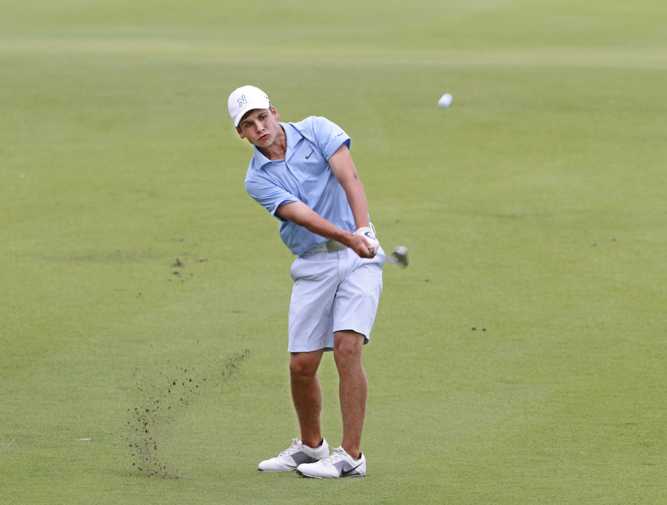 Edmond North's Hyden Wood plays in the 6A boys golf tournament at Karsten Creek, Monday, May 7, 2012. Photo By David McDaniel/The Oklahoman