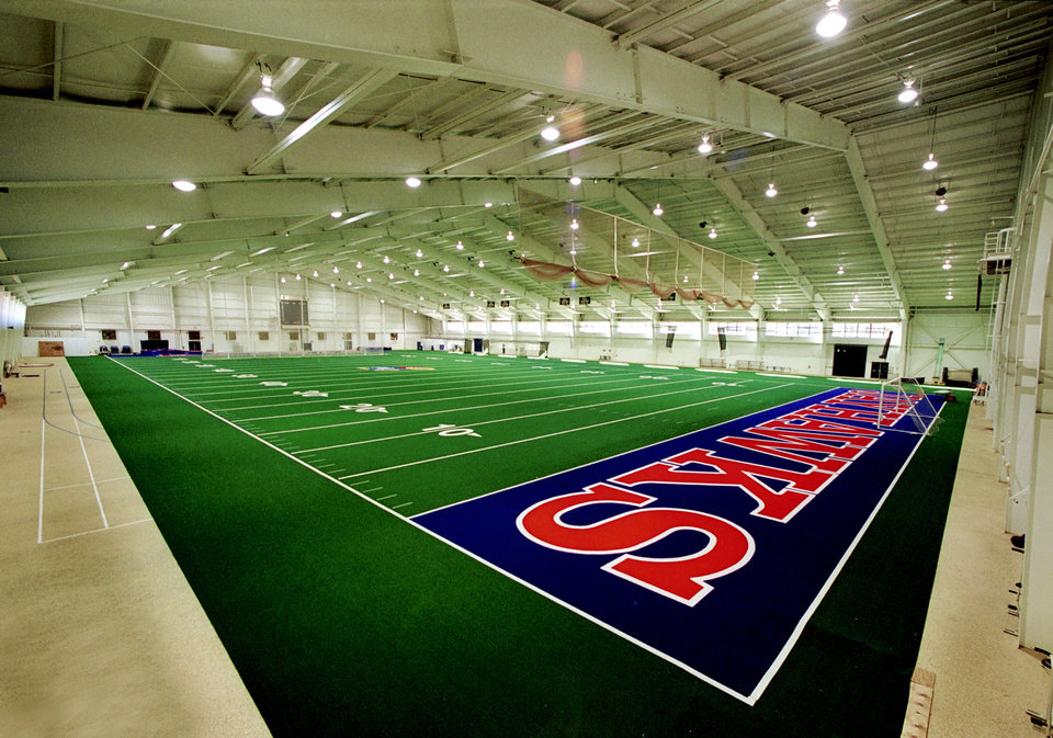 Photo - UNIVERSITY OF KANSAS, INDOOR PRACTICE FACILITY: The Anschutz Pavilion is Kansas' indoor training facility. New turf was installed in 1999.    PHOTO PROVIDED     ORG XMIT: 0806132205411973