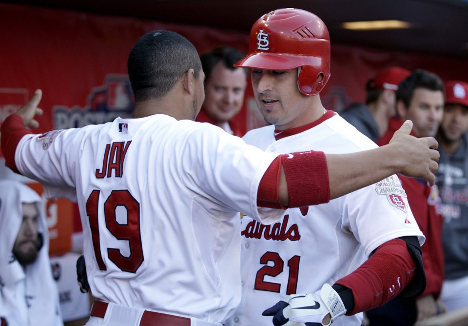 Photo -   St. Louis Cardinals' Allen Craig, right, gets a hug from teammate Jon Jay after hitting a solo home run during the third inning in Game 2 of baseball's National League division series against the Washington Nationals, Monday, Oct. 8, 2012, in St. Louis. (AP Photo/Tom Gannam)