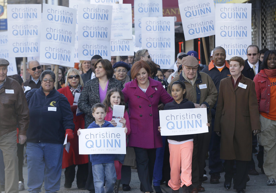 New York City Council speaker and mayoral hopeful Christine Quinn, center, walks with supporters and family as part of her announcement to run for mayor in New York, Sunday, March 10, 2013. The New York City Council speaker has formally launched what she hopes will be a history-making mayoral bid this fall. (AP Photo/Seth Wenig)