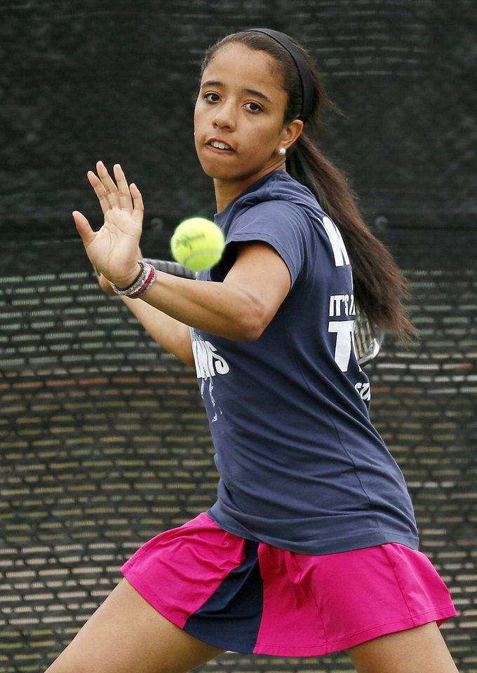 Jenks\' Mariah Burke competes in a Class 6A #1 Singles match during the girls high school state tennis tournament at the Oklahoma City Tennis Center in Oklahoma City, Saturday, May 4, 2013. Photo by Nate Billings, The Oklahoman