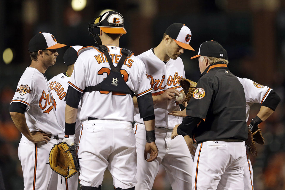 Photo - Baltimore Orioles manager Buck Showalter, right, relieves starting pitcher Chris Tillman in the fifth inning in the second baseball game of a doubleheader against the Pittsburgh Pirates, Thursday, May 1, 2014, in Baltimore. (AP Photo/Patrick Semansky)