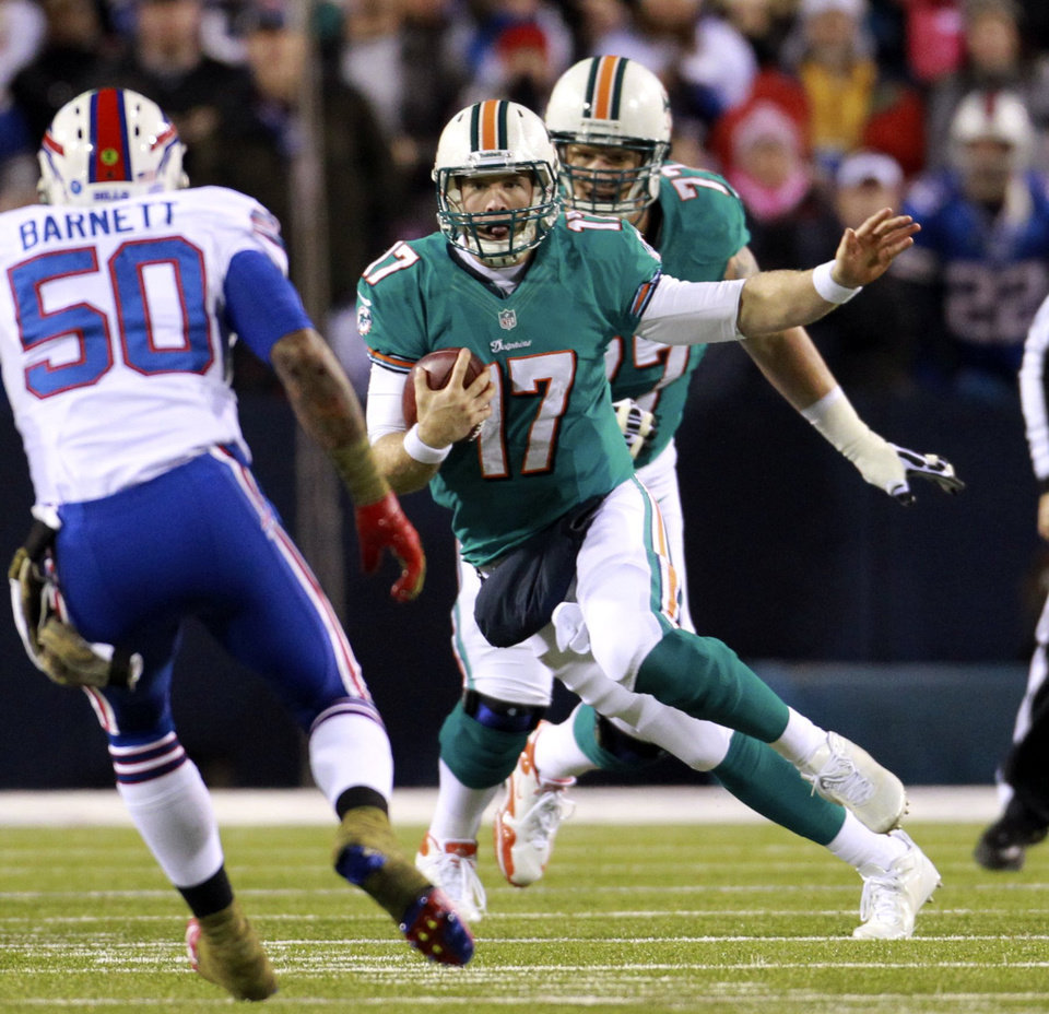 Photo -   Miami Dolphins quarterback Ryan Tannehill (17) scrambles in the first quarter of an NFL football game against the Buffalo Bills at Ralph Wilson Stadium in Orchard Park, N.Y., Nov. 15, 2012. (AP Photo/The Miami Herald, Charles Trainor Jr.) MAGAZINES OUT