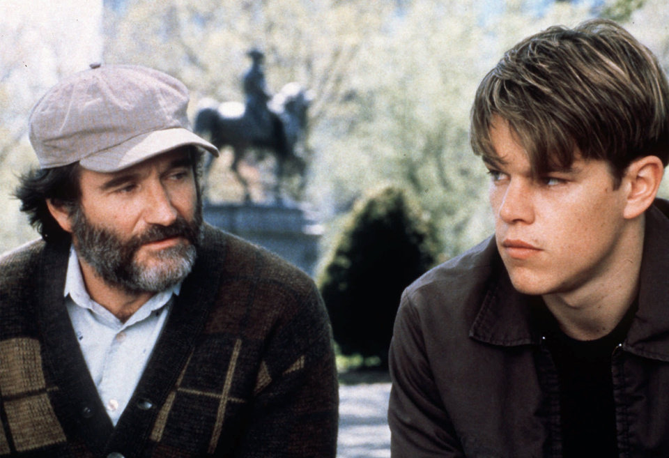 "Photo - FILE-- Robin Williams, left, and Matt Damon appear in a scene from the movie ""Good Will Hunting.""  ""Good Will Hunting"" was nominated for Best Picture in the 70th Annual Academy Awards, announced Tuesday, Feb. 10, 1998 in Beverly Hills., Calif. Williams was nominated for best supporting actor and Damon was nominated for best actor. (AP Photo/Miramax, George Kraychyk, HO)"