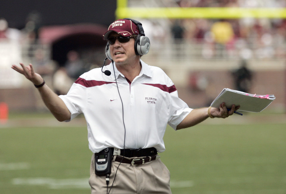 Florida State coach Jimbo Fisher brings his team to Norman to face OU on Saturday. AP photo