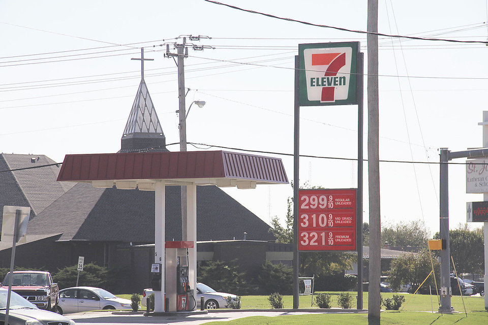 The 7-Eleven at NW 12th and Santa Fe in Moore sold gasoline Friday for $2.99 a gallon.