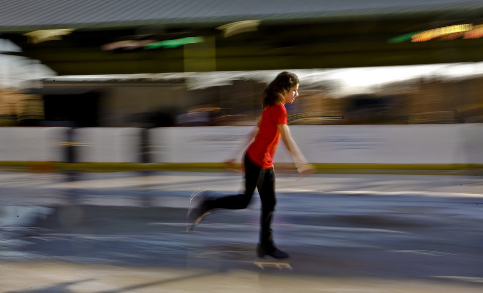 Maddy Murray skates at the Edmond outdoor ice skating rink on Sunday, Dec. 2, 2012, in Edmond, Okla. Photo by Chris Landsberger, The Oklahoman
