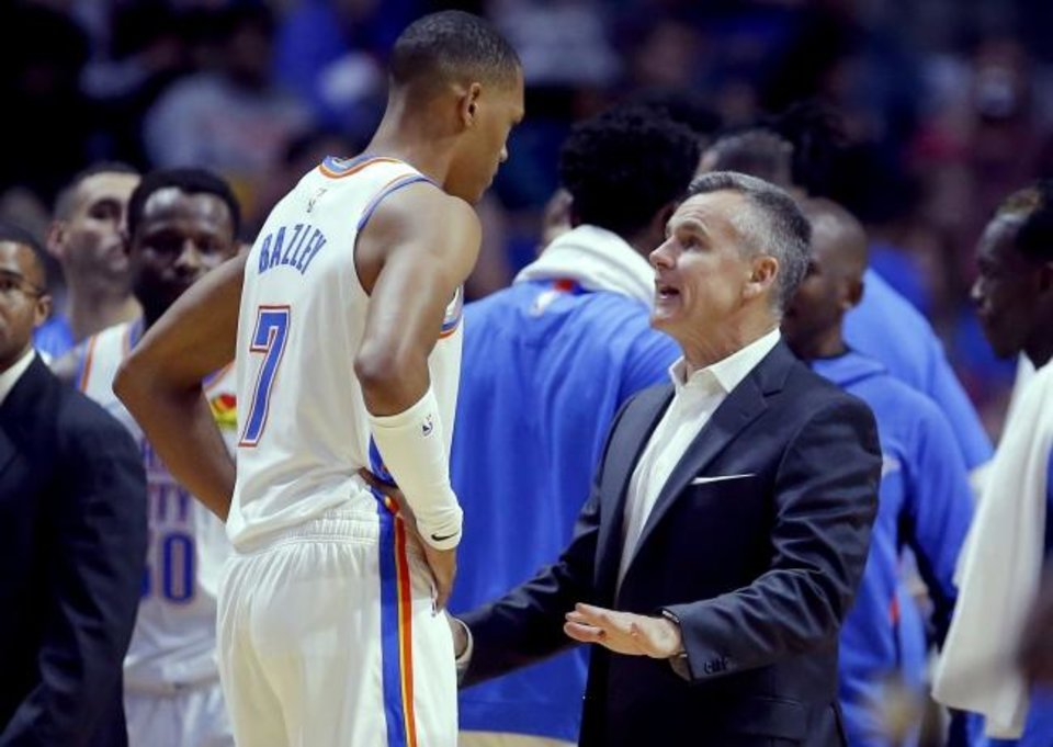 Photo -  Oklahoma City head coach Billy Donovan talks with Darius Bazley (7) during the preseason NBA game between the Oklahoma City Thunder and the Dallas Mavericks at the BOK Center in Tulsa, Okla. , Tuesday, Oct. 8, 2019. [Sarah Phipps/The Oklahoman]