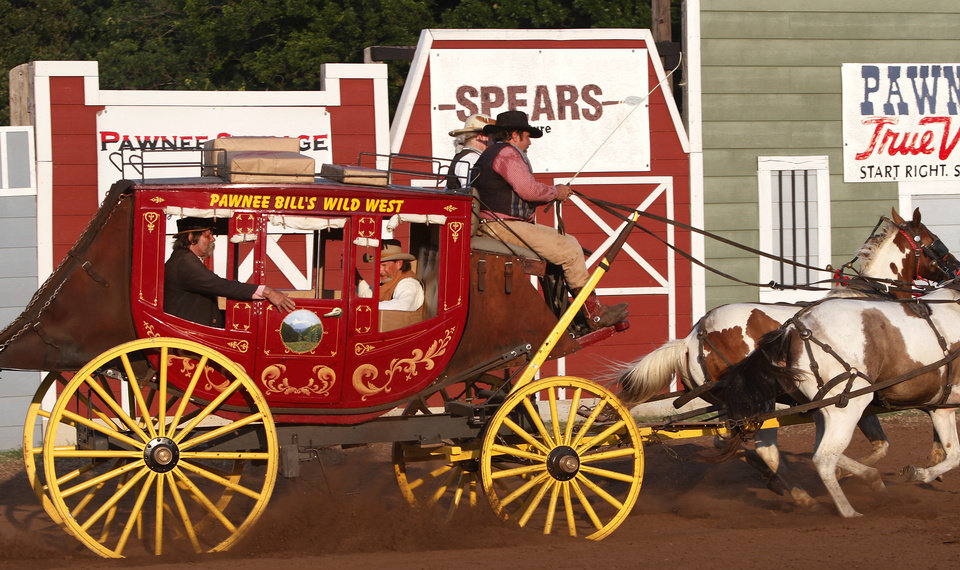 A stagecoach rides into the arena at the Pawnee Bill Wild West Show in Pawnee, Oklahoma on Saturday,  June 23, 2012.  Photo by Jim Beckel, The Oklahoman