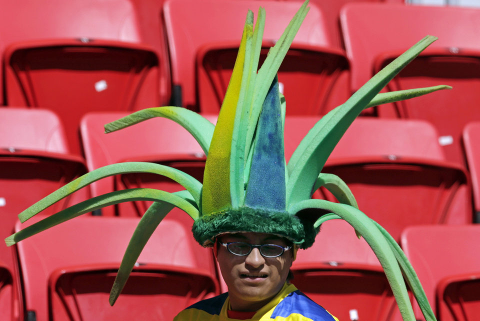 Photo - I spectator wears a fancy hat in the stands before the group E World Cup soccer match between Switzerland and Ecuador at the Estadio Nacional in Brasilia, Brazil, Sunday, June 15, 2014.  (AP Photo/Fernando Llano)
