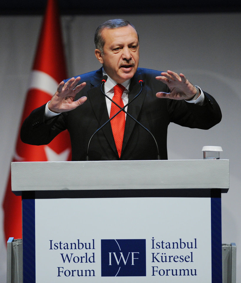 Turkey's Prime Minister Recep Tayyip Erdogan addresses a forum in Istanbul, Turkey, Saturday, Oct. 13, 2012. Turkey�s prime minister sharply criticized the U.N. Security Council on Saturday for its failure to agree on decisive steps to end the 19-month civil war in Syria. (AP Photo)