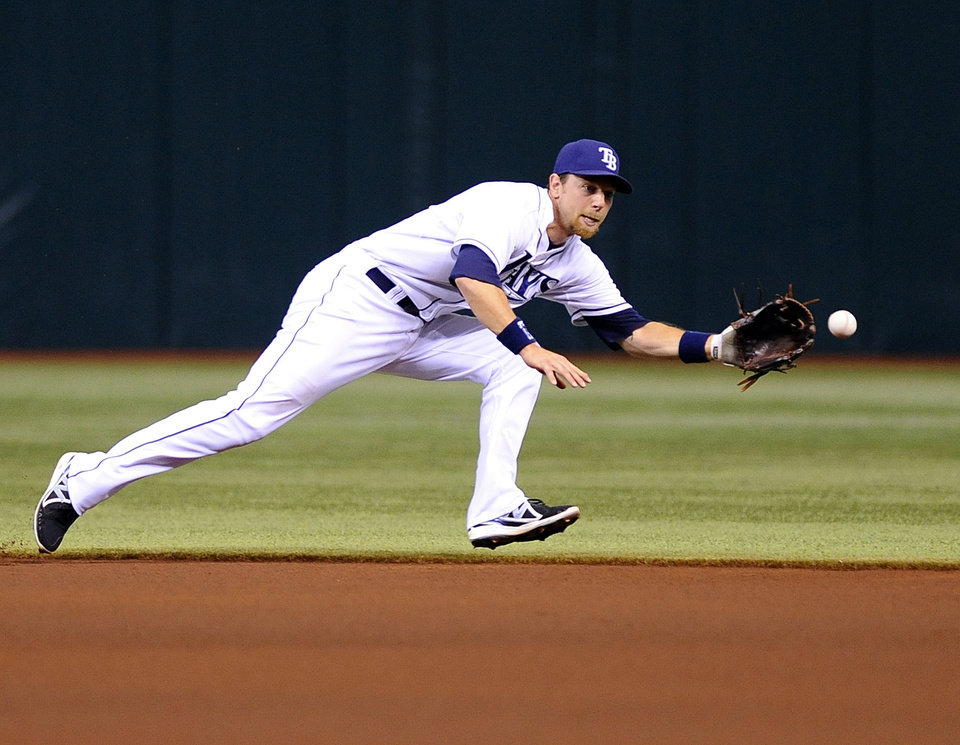 Tampa Bay Rays second baseman Ben Zobrist makes the play on the ground ball by Texas Rangers' Ian Kinsler during the first inning of a baseball game Thursday, Sept. 19, 2013, in St. Petersburg, Fla. (AP Photo/Brian Blanco)