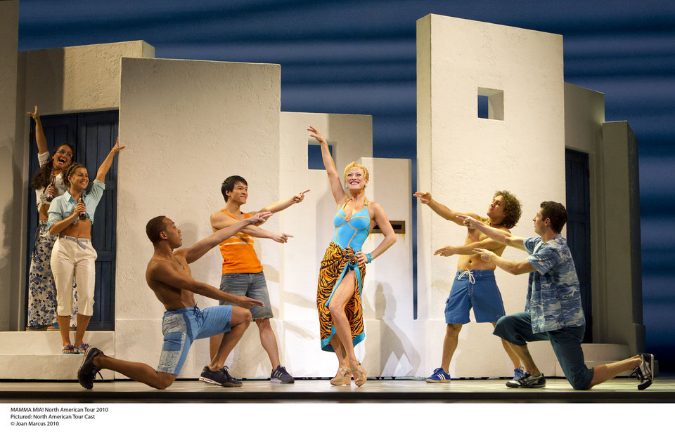 "The cast of the national touring production of ""Mamma Mia!""   Photo by Joan Marcus <strong>Photo by Joan Marcus</strong>"