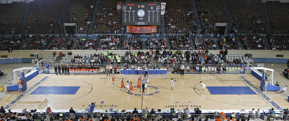 Photo - The Class 2A girls semifinal game between Fairview High School and Northeast High School at the State Fair Arena on Friday, March 8, 2013, in Oklahoma City, Okla. Photo by Chris Landsberger, The Oklahoman