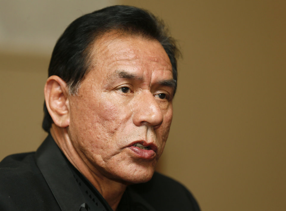 Photo - Honoree Wes Studi speaks during the press conference before the Western Heritage Awards at the National Cowboy  & Western Heritage Museum in Oklahoma City, Saturday, April 20, 2013. Studi is being inducted into the Hall of Great Western Performers. Photo by Nate Billings, The Oklahoman