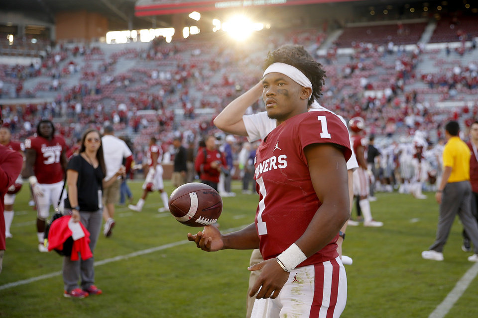 Photo - Oklahoma's Kyler Murray (1) stands on the field after a college football game between the University of Oklahoma Sooners (OU) and the Kansas State Wildcats at Gaylord Family-Oklahoma Memorial Stadium in Norman, Okla., Saturday, Oct. 27, 2018. Oklahoma won 51-14. Photo by Bryan Terry, The Oklahoman